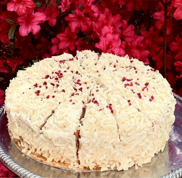 Gluten Free Raspberry & White Choc Bomb cake